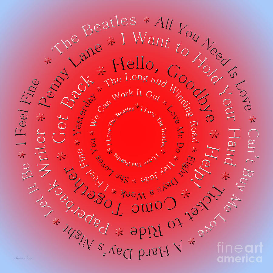 Love Digital Art - I Love The Beatles 5  by Andee Design