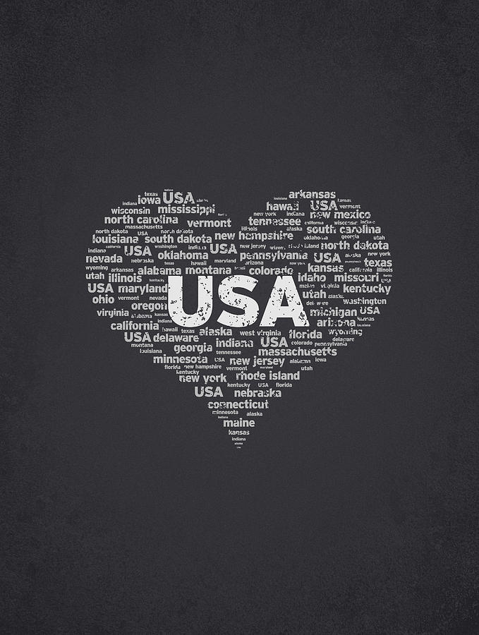 Usa Digital Art - I Love Usa by Aged Pixel