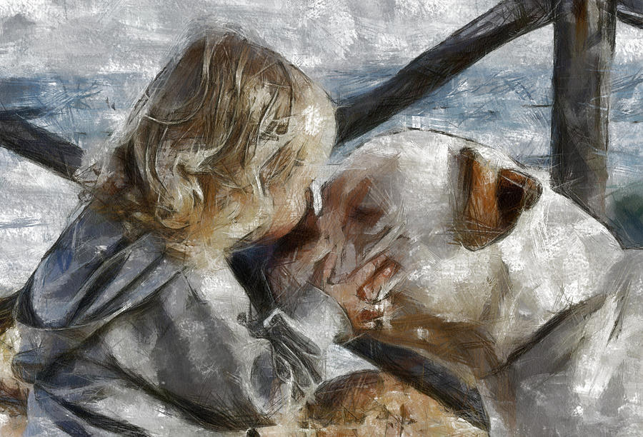 Dog Painting - I Love You by Georgi Dimitrov