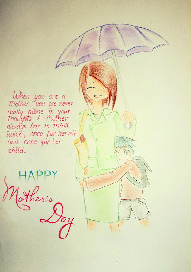 Mother's Day Drawing - Mothers Day- I Love U Mom by Tanmay Singh