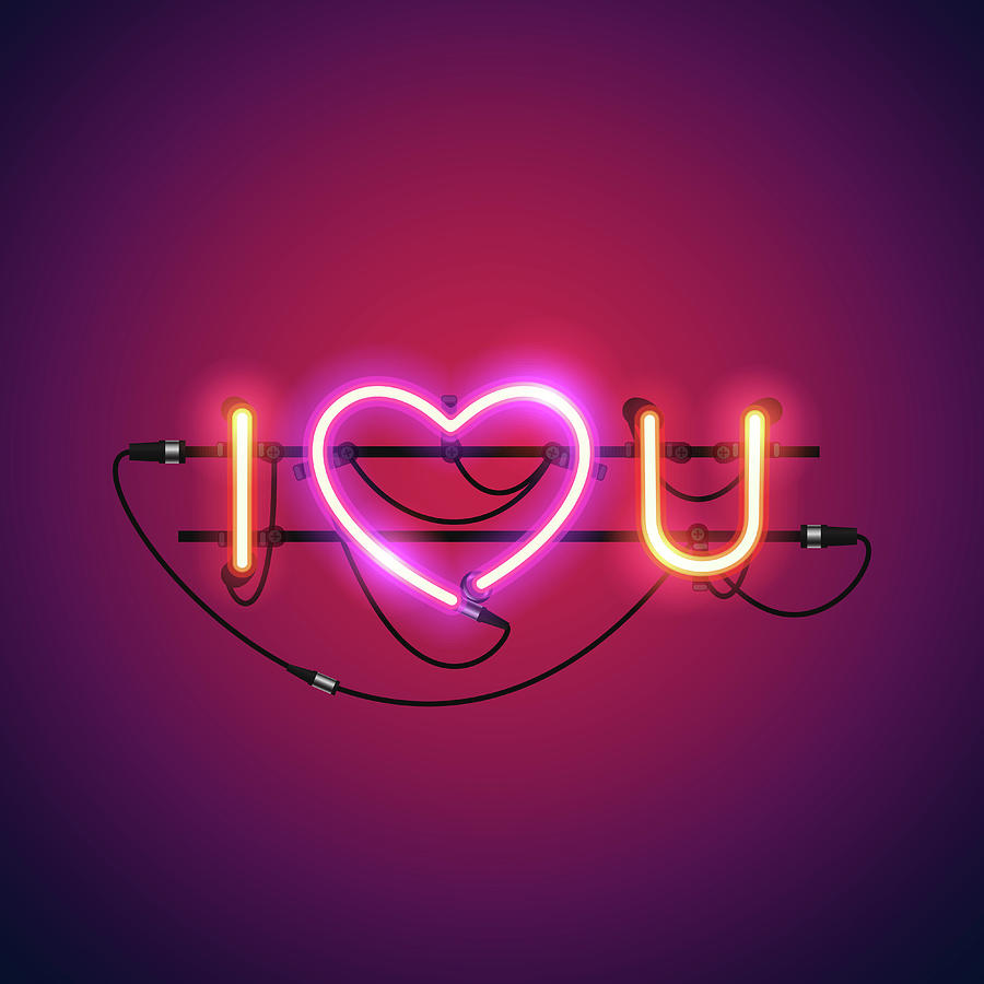 I Love You With Pink Heart Neon Sign Digital Art by Voysla