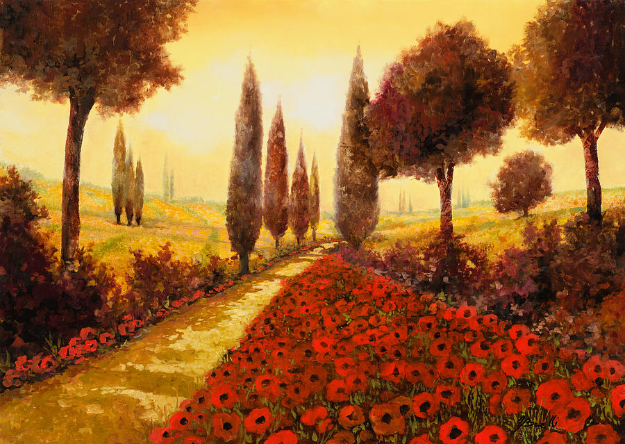 Poppy Fields Painting - I Papaveri In Estate by Guido Borelli