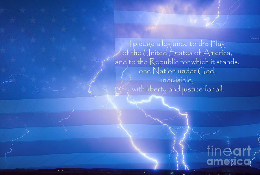 Lightning Photograph - I Pledge Allegiance To The Flag  by James BO  Insogna