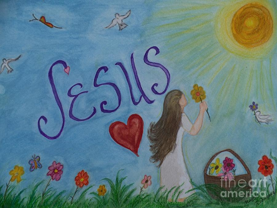 Jesus Painting - I Seek You by Maggie Rodriguez