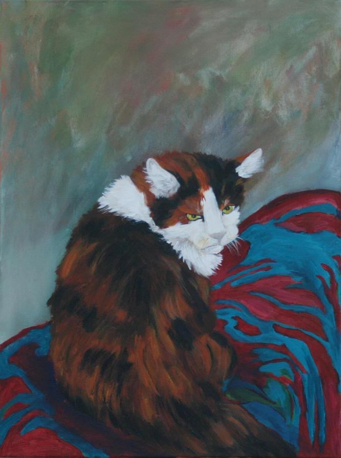 Calico Cat Painting - I Want My Lap by Gail Daley