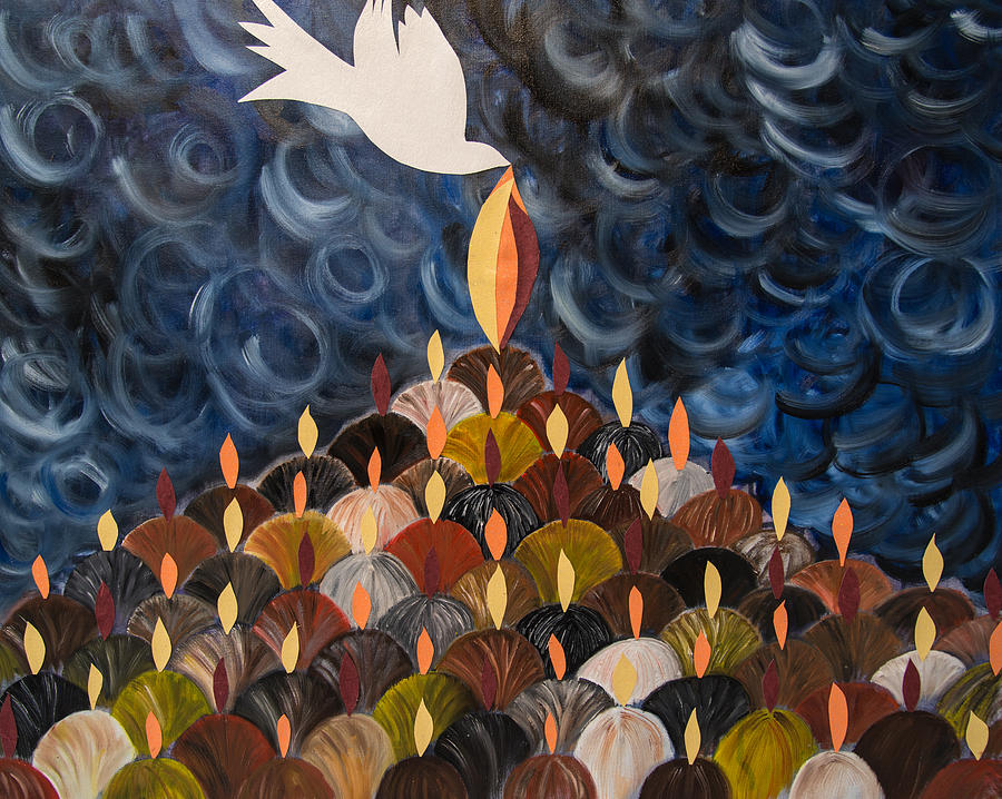 Dove Painting - I Will Pour Out My Spirit On All My People by Marianne Gonzales