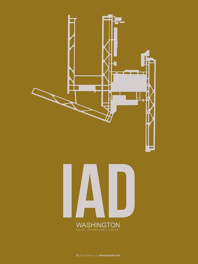 Washington D.c. Digital Art - Iad Washington Airport Poster 3 by Naxart Studio