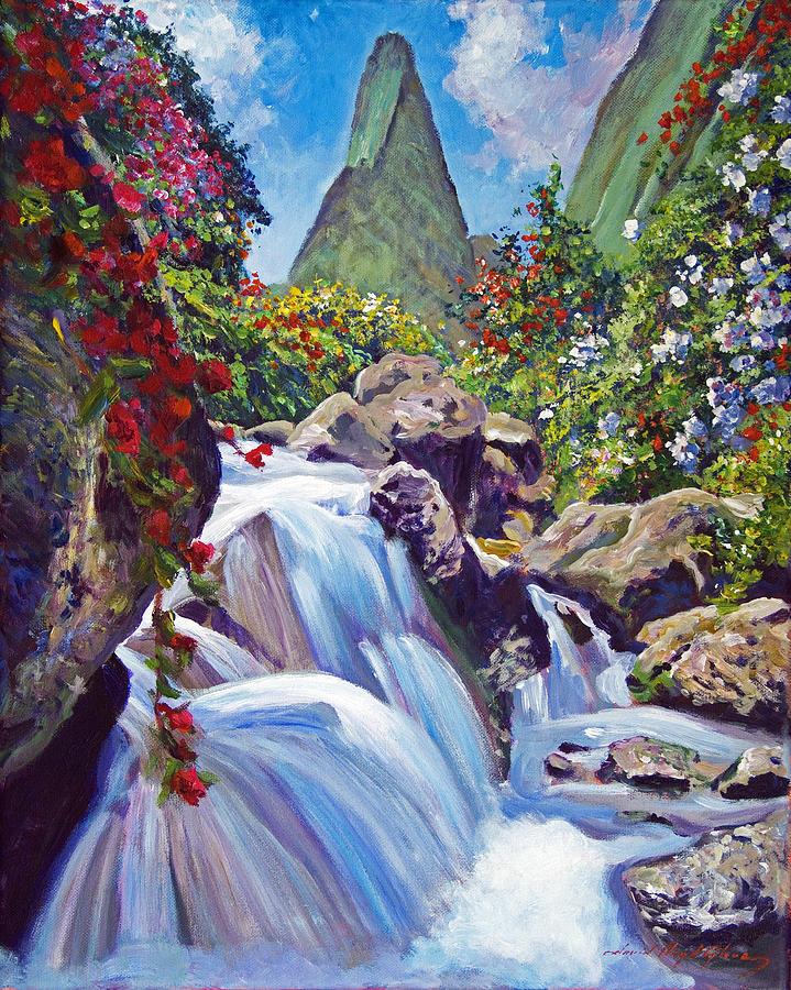Hawaii Painting - Iao Needle Maui by David Lloyd Glover