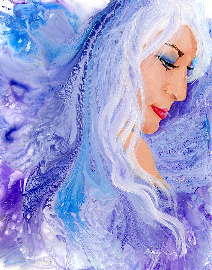 Female Painting - Ice Angel by Sherry Shipley