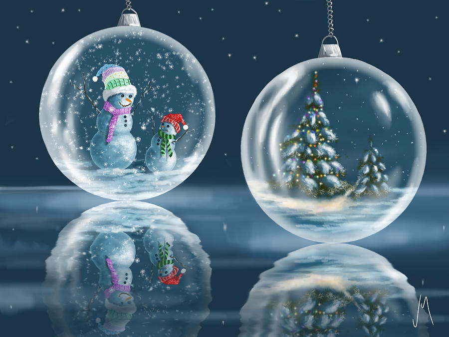 Christmas Painting - Ice Balls by Veronica Minozzi