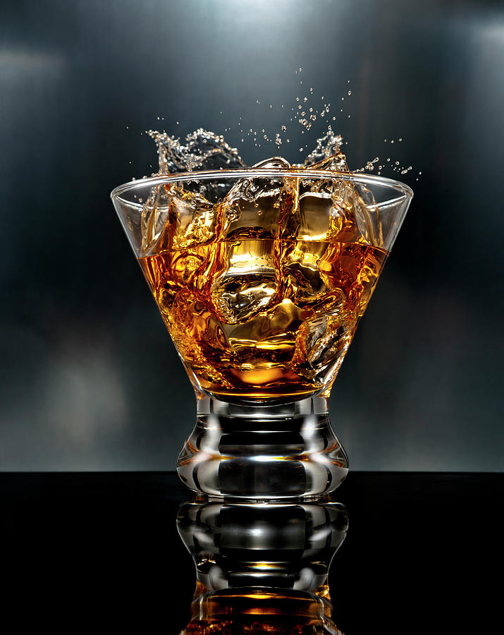 Ice Cube Splash Alcohol Drink Photograph by Chris Stein