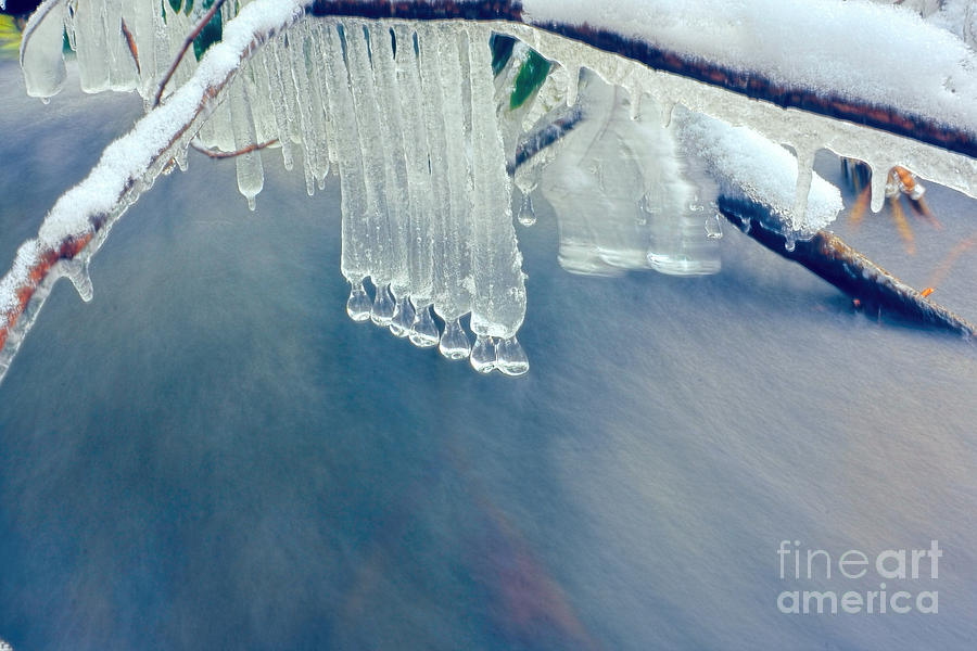 Ice Cycles Photograph - Ice Drops Over Stream by Dan Friend