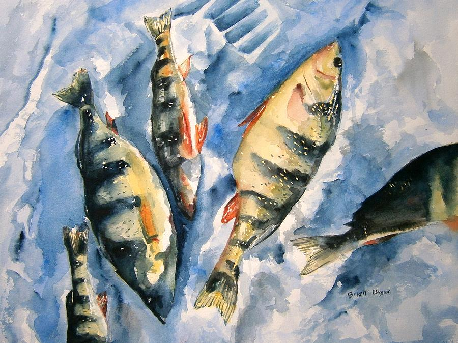 Ice fishing for perch painting by brian degnon for Ice fishing for perch