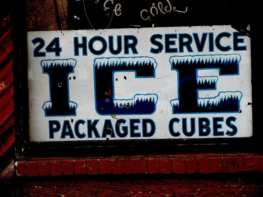Sign Photograph - Ice For Sale by Steven Parker