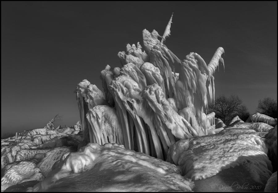 Winter Photograph - Ice Formation Black And White by Daniel Behm