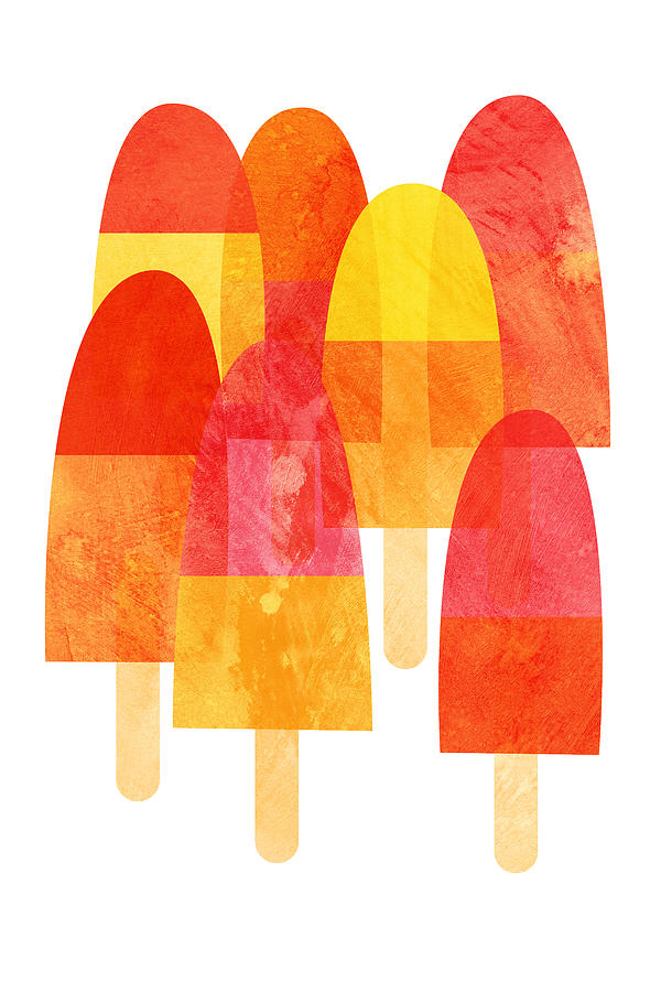 Cool Down With A Bright And Fruity Ice Lolly Print On A Hot Summer Day. Painting - Ice Lollies by Nic Squirrell