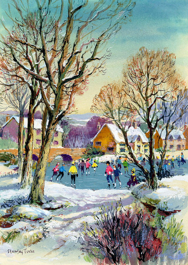 Ice Skating Painting - Ice Skating by Stanley Cooke