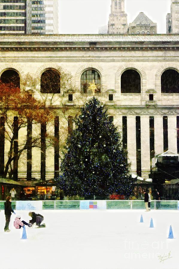 Xmas Tree Digital Art - Ice Skating During The Holiday Season by Nishanth Gopinathan