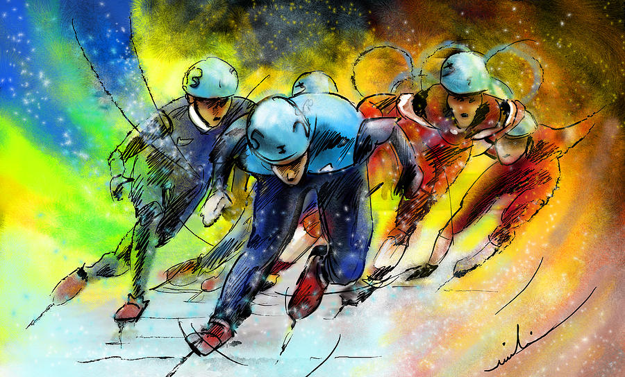 Sports Painting - Ice Speed Skating 01 by Miki De Goodaboom