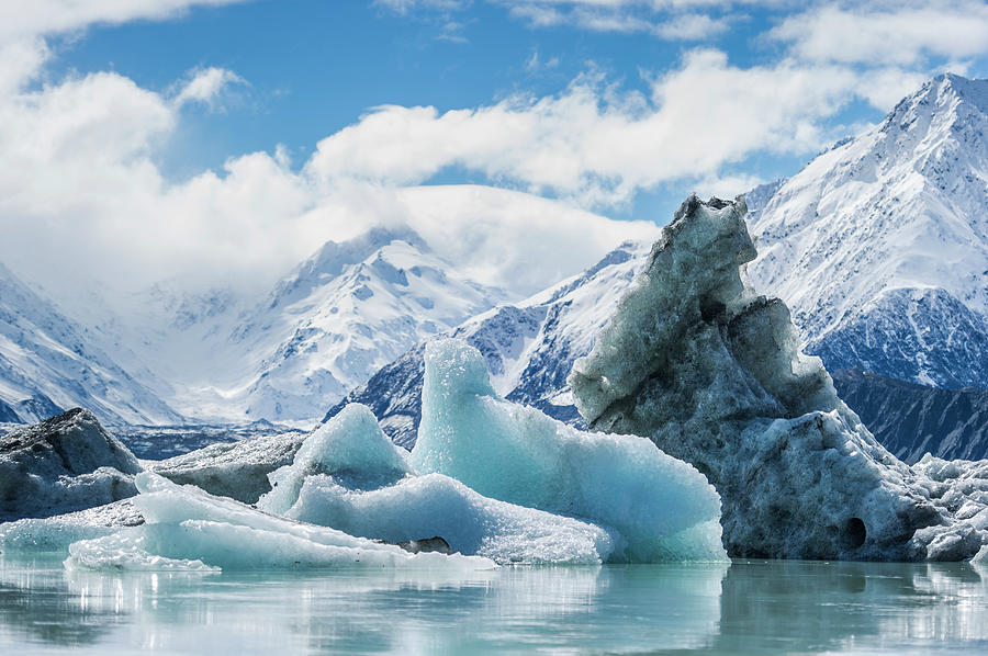 Icebergs From Melting Glacier Photograph by Jason Hosking