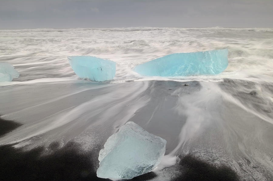 Icebergs Washed Up On Volcanic Sandy Photograph by Travelpix Ltd