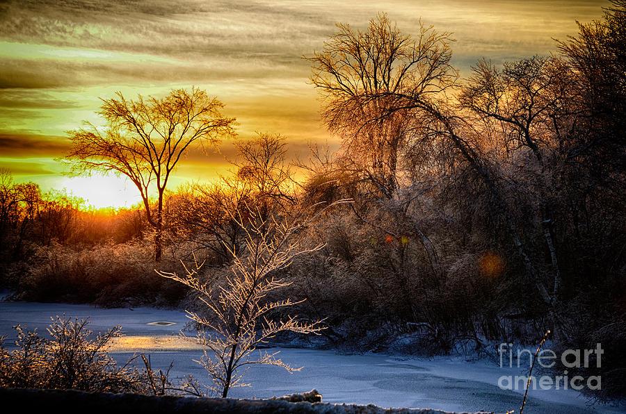 Sun Photograph - Iced Sunset by Wanda Clowater