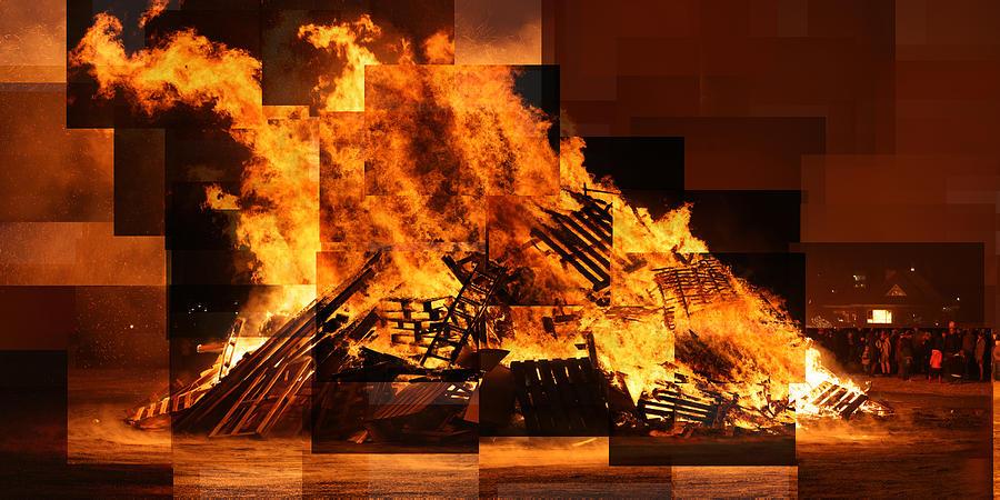 Reykjavik Photograph - Iceland Bonfire by Stephen Farley