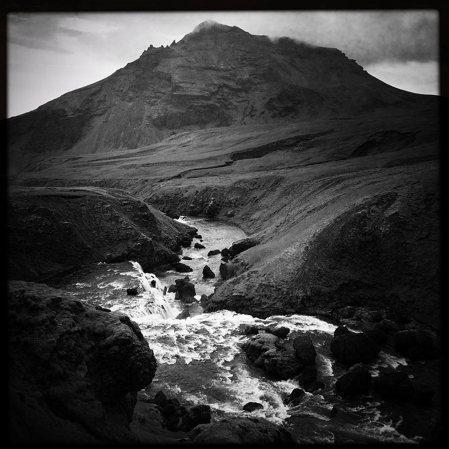 Iceland Photograph - Iceland landscape with river and mountain black and white by Matthias Hauser
