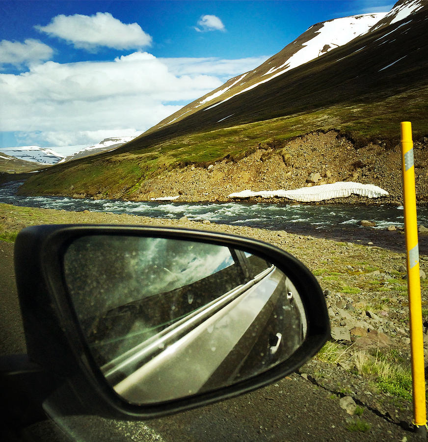 Iceland Photograph - Iceland roadtrip - landscape and rear mirror of car by Matthias Hauser