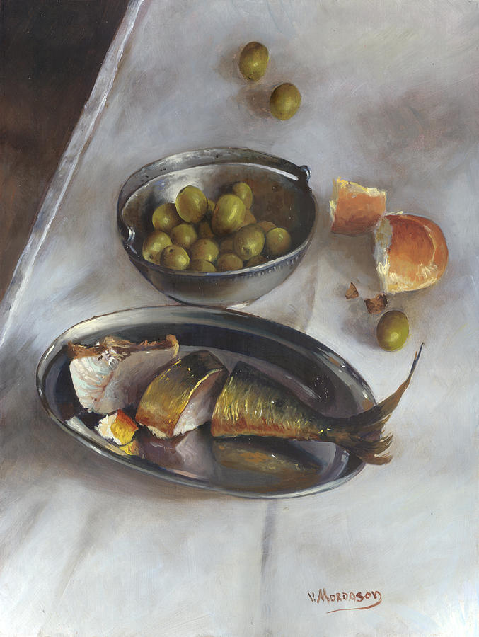 Still Life Painting - Icelandic Fish by Victor Mordasov