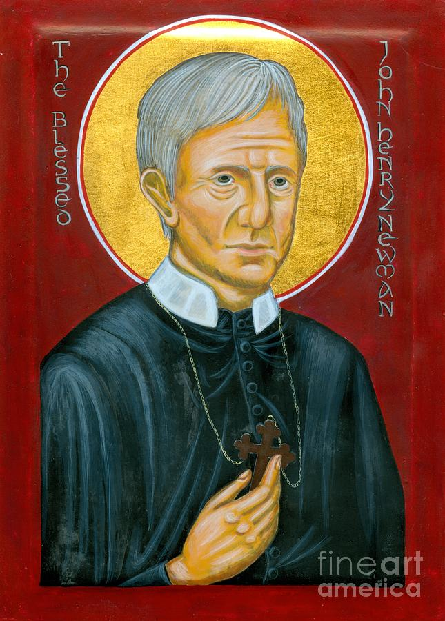 Icon Painting - Icon Of The Blessed John Henry Newman by Juliet Venter