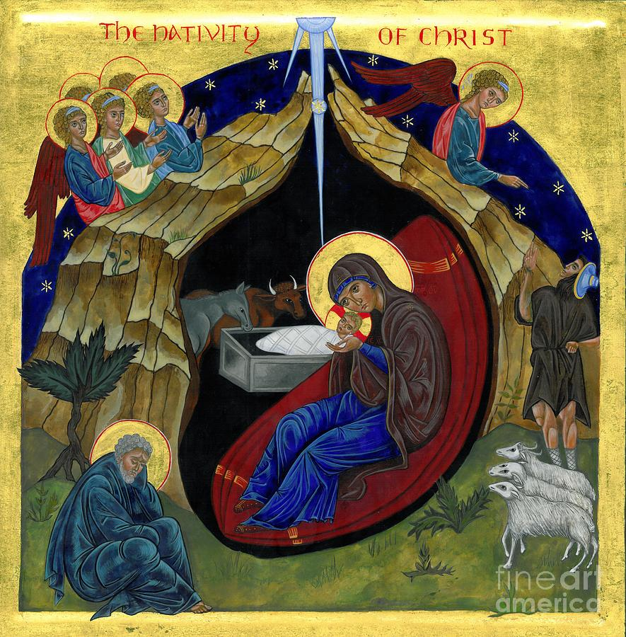 Icon Painting - Icon Of The Nativity by Juliet Venter