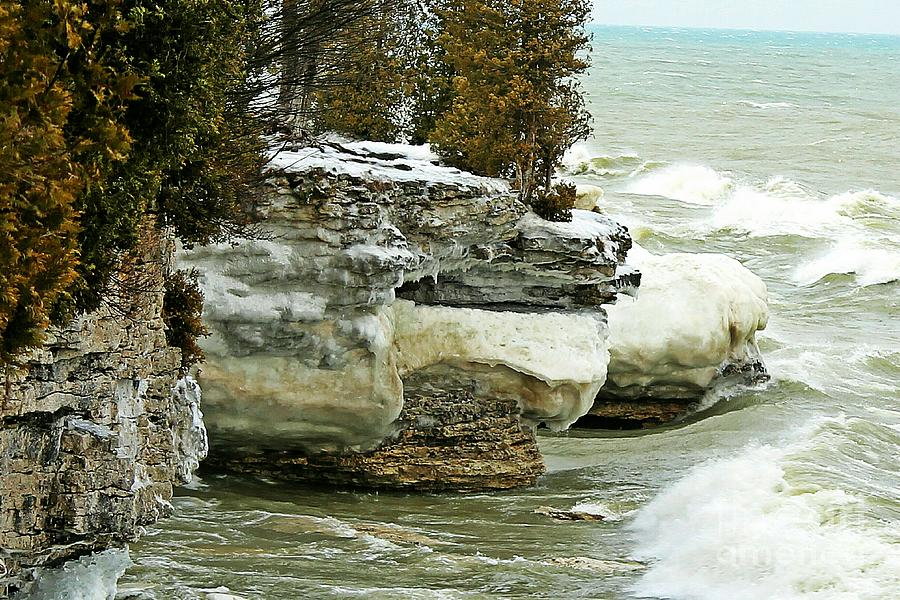 Icy Cave Point - Door County Photograph