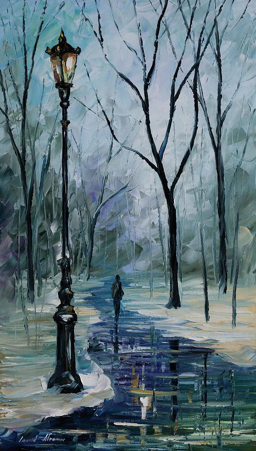 Leonid Afremov Painting - Icy Path - Palette Knife Oil Painting On Canvas By Leonid Afremov by Leonid Afremov