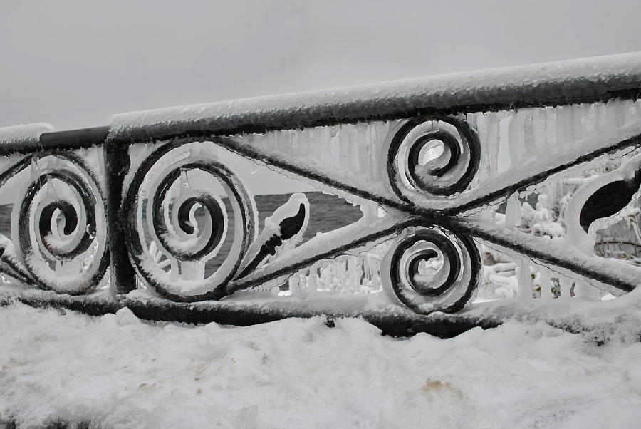 Winter Photograph - Icy Railing by Mark Alan Perry