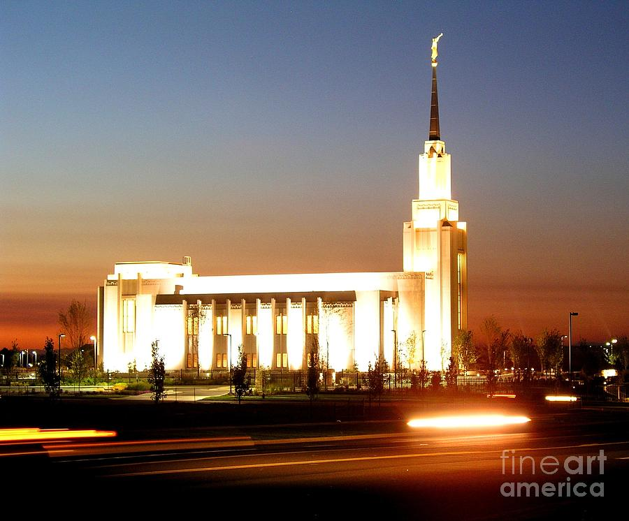 Twin Falls Temple Photograph - Twin Falls Temple At Night by Jenny Wood