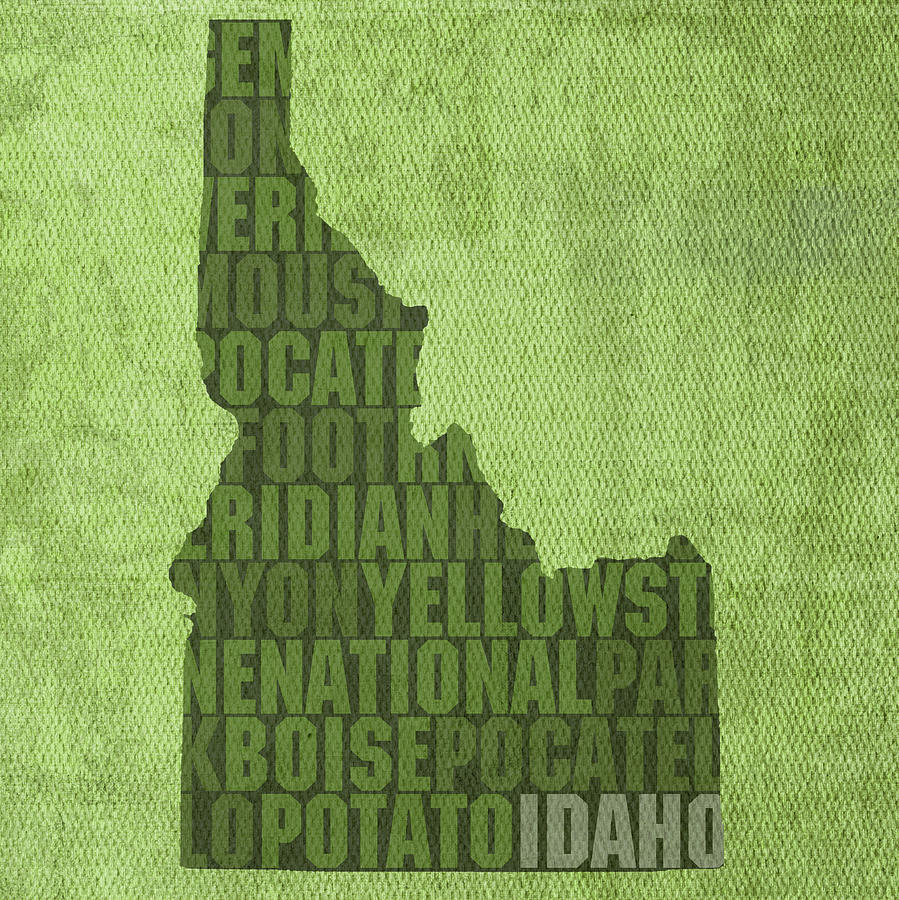Idaho State Word Art Map On Canvas Mixed Media by Design Turnpike