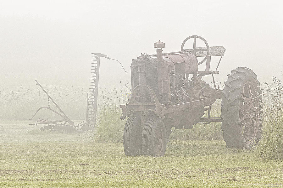Tractor Photograph - Idle Tractor In Fog by Marty Saccone