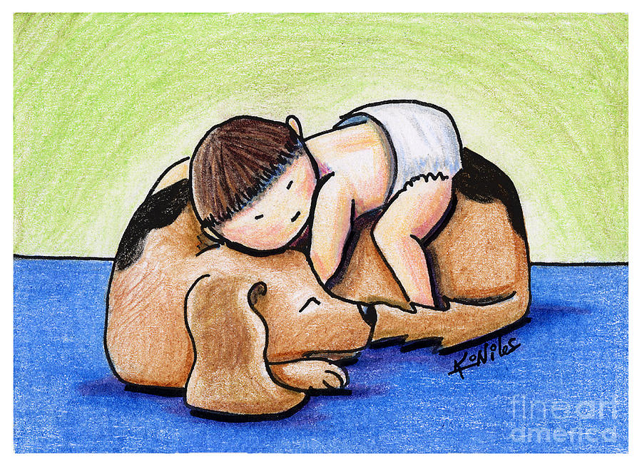 Baby Drawing - If All Else Fails Hug Your Dog by Kim Niles