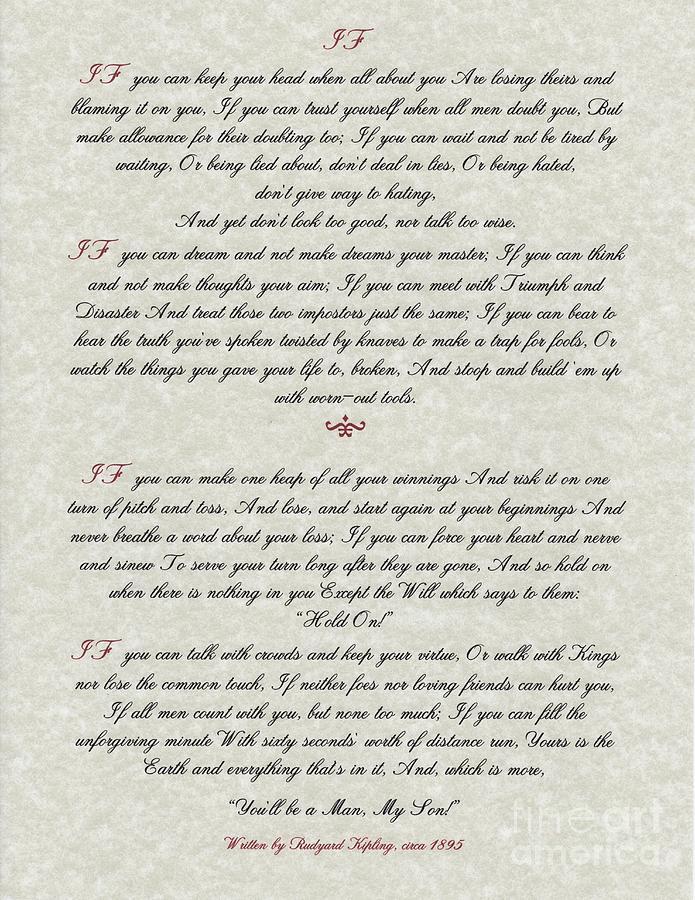 Rudyard Kipling Painting - If By Rudyard Kipling Typography On Parchment by Desiderata Gallery