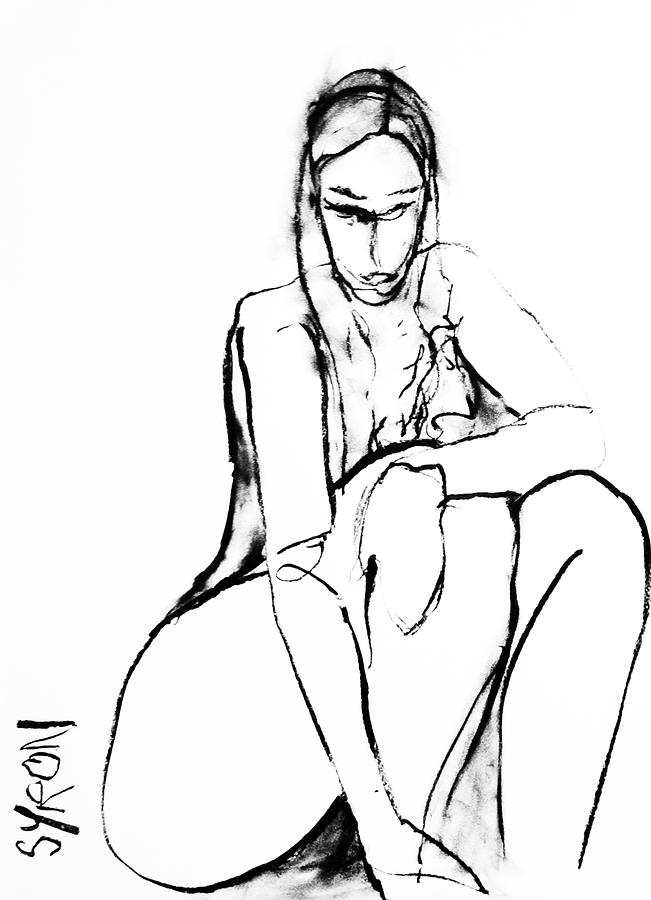 Woman Drawing - If Im Honest by Helen Syron