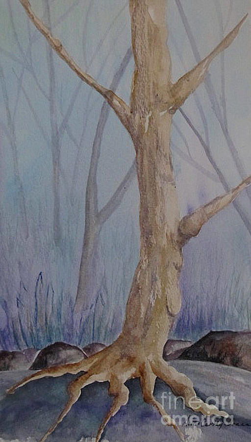 Bare Trees Painting - If You Go Into The Woods... by April McCarthy-Braca