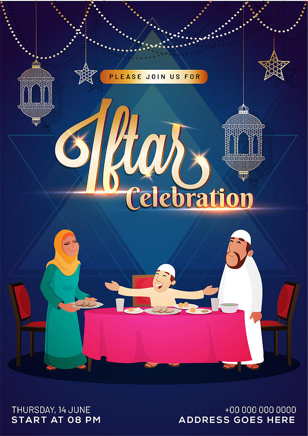 Iftar Party Celebration Invitation Card Poster Or Banner Design With Illustration Of Islamic Family Enjoying Delicious Food And Beautiful Lanterns