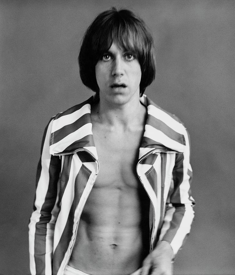 Iggy Pop Wearing A Striped Jacket Photograph by Peter Hujar
