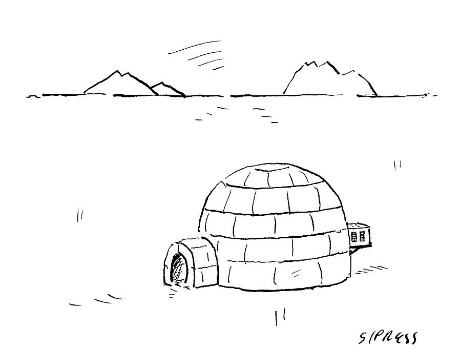 Outdoors Drawing - Igloo With Air Conditing Unit by David Sipress