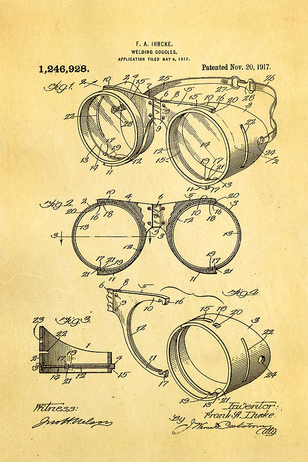 Construction Photograph - Ihrcke Welding Goggles Patent Art 1917 by Ian Monk