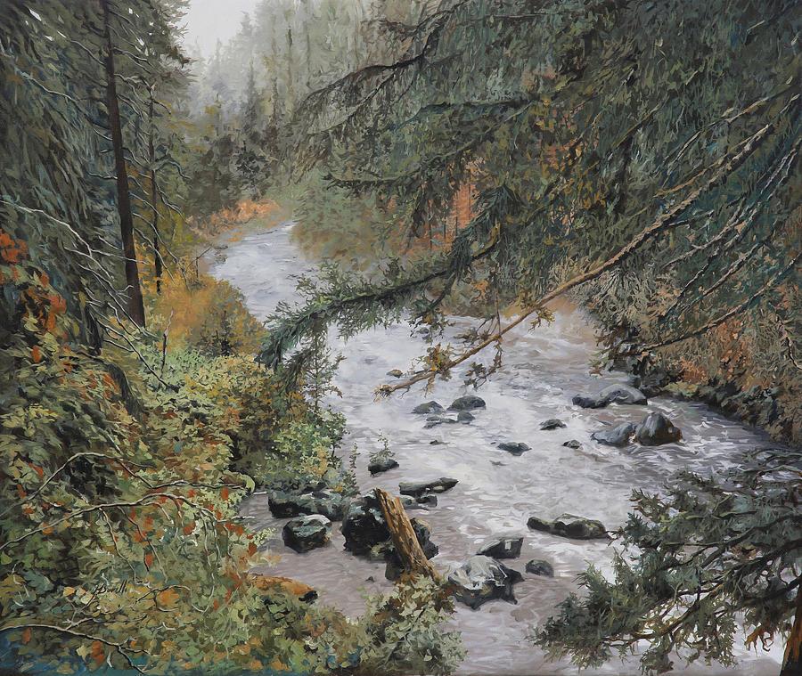 Landscape Painting - Il Ruscello Di Montagna by Guido Borelli