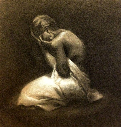 Woman Drawing - Il Suo Dolore by Alison Schmidt Carson