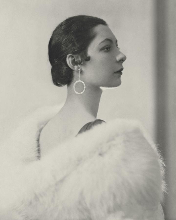 Ilka Chase Wearing Diamond Earrings Photograph by Edward Steichen