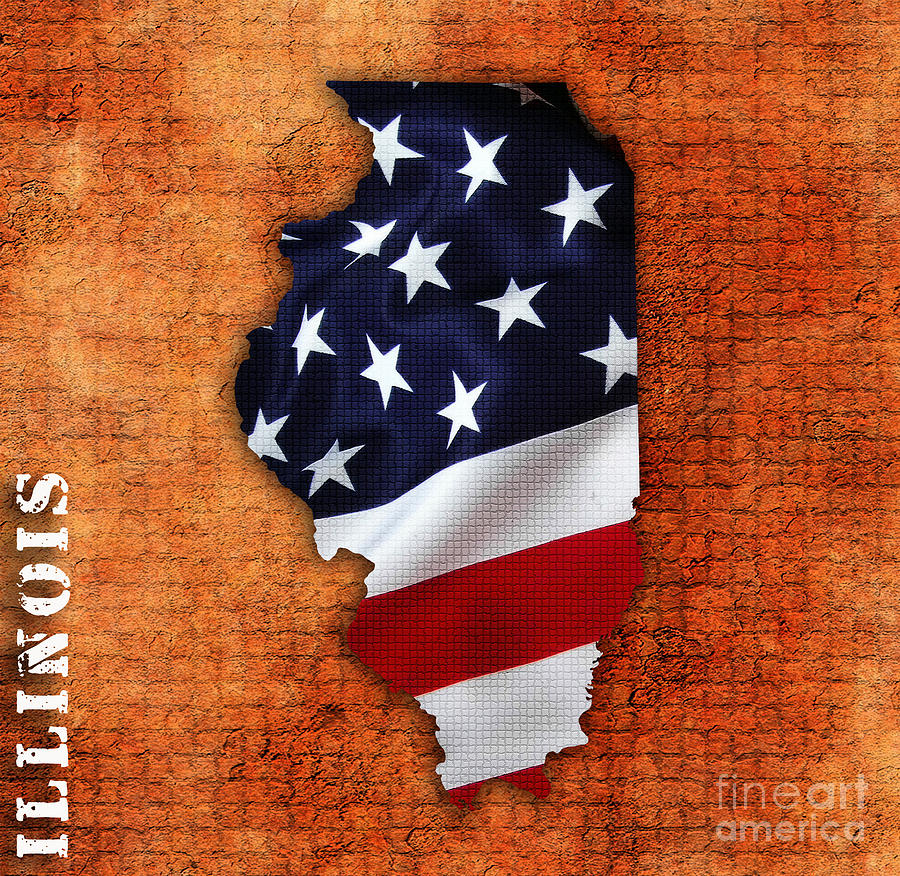Illinois American Flag State Map Mixed Media by Marvin Blaine